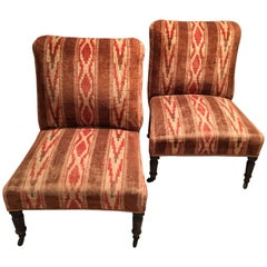 Pair of English Velvet Upholstered Slipper Chairs with Turkish Corners
