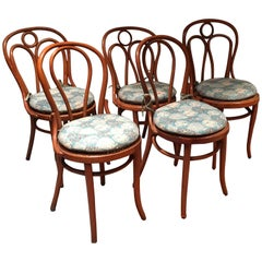 Set of Seven Mismatched Thonet Style Bentwood Side Chairs with Cushions