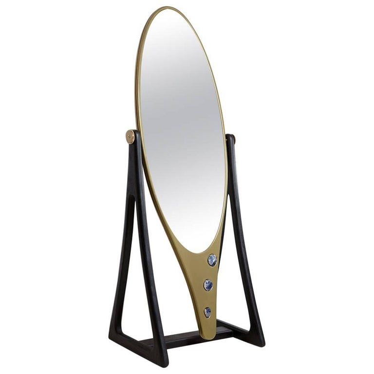 Limited Edition Kookie Mirror in Blackened Oak, Corian and Sodalite Stones Inset