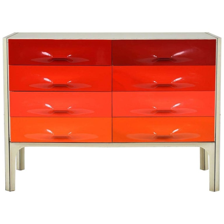 Raymond Loewy DF-2000 Chest of Drawers in Red Tones