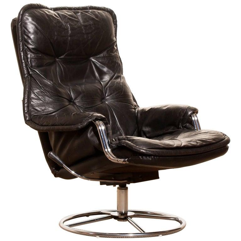 1970s, Black Leather Swivel Chrome Steel Lounge Chair , Sweden