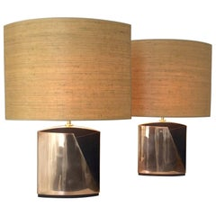 Pair of Esa Fedrigolli Signed Bronze Table Lamps, circa 1975 Italy