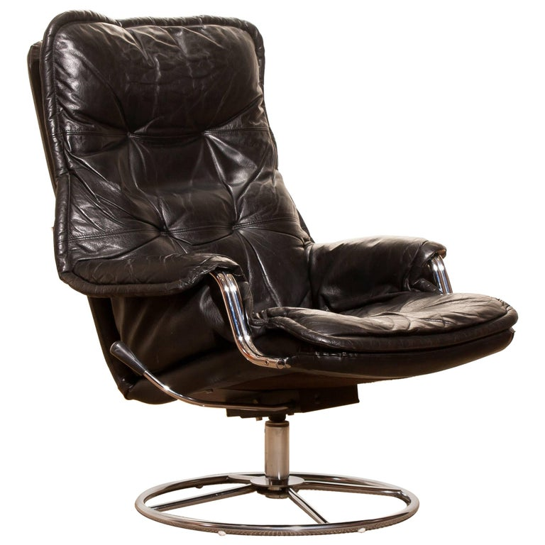 1970s, Black Leather Swivel Chrome Steel Lounge Chair , Sweden For Sale