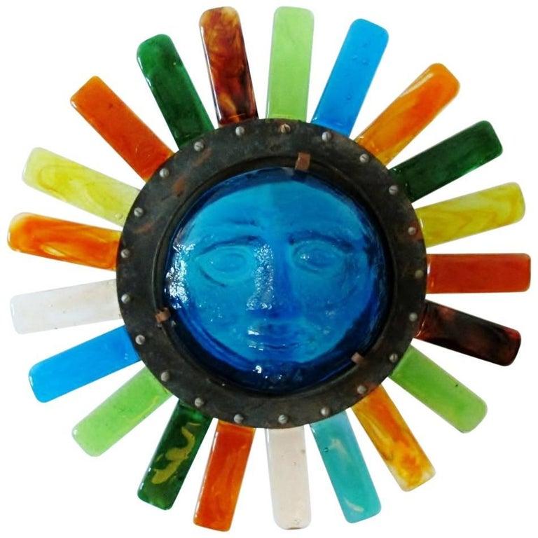Filipe Delfinger Mexican Modernist Glass Sun Wall Lamp Feders For Sale