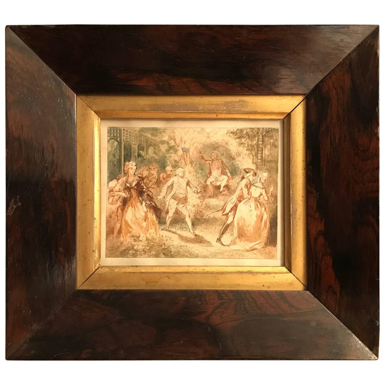 French 18th Century Watercolor 'Blind Man's Bluff'