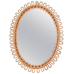 French Riviera oval wall mirror in bamboo and rattan, 1960s Mid-Century