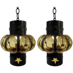 Pair of Filipe Delfinger Mexican Modernist Imprisoned Glass Pendant Lamps Feders