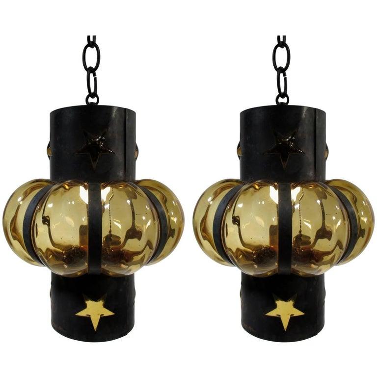 Pair of Filipe Delfinger Mexican Modernist Imprisoned Glass Pendant Lamps Feders