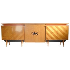 Large French Modernist Sideboard in the style of Jean Royère, 1950s