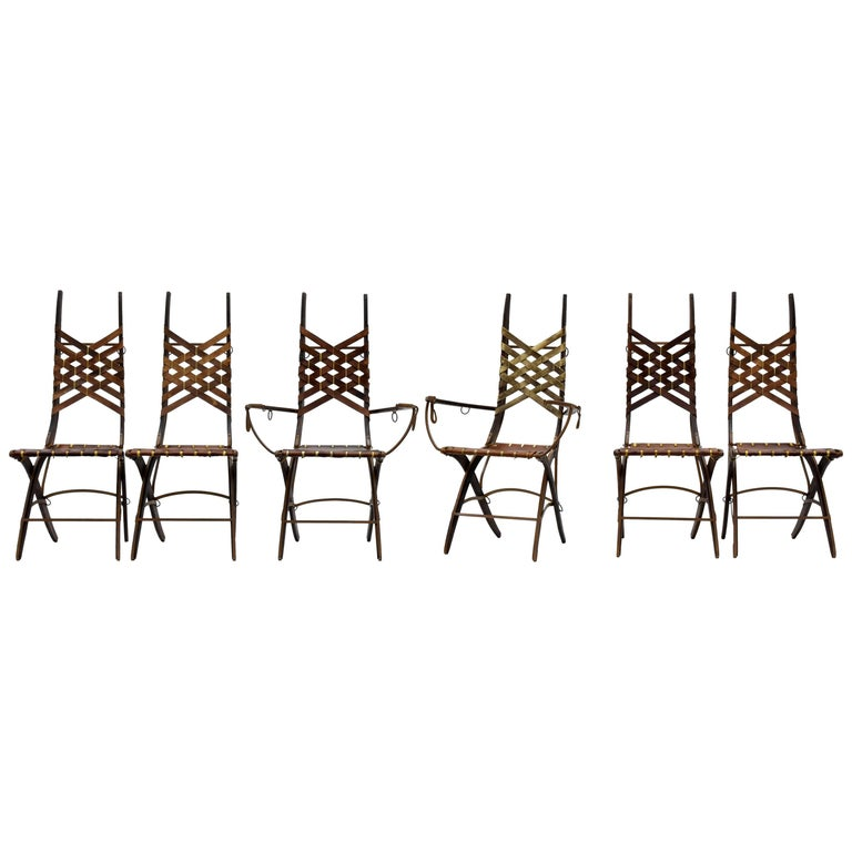 Alberto Marconetti, Six Dining Chairs, Iron, Oak, Leather, Italy, circa 1960 For Sale