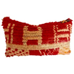 Moroccan Custom Pillow cut from a Berber Hand Loomed Wool Rug, Atlas Mountains