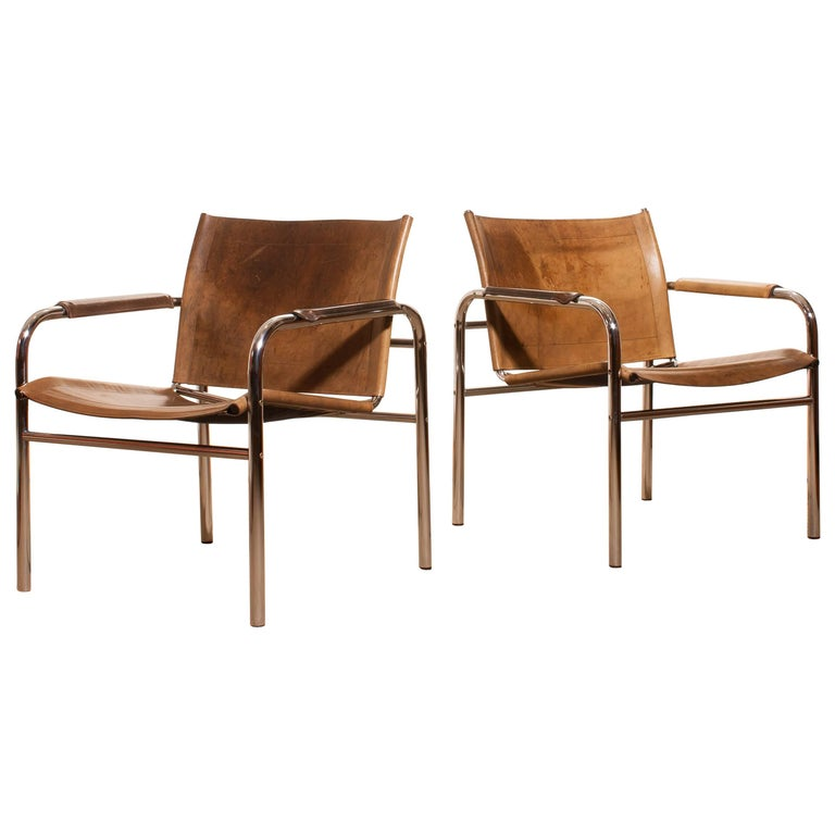 1960s , A pair of Leather and Tubular Steel ArmChairs 'Klinte' by Tord Björklund 1