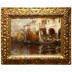View of the Rialto Market in Venice, circa 1900, Italian School Oil on Cardboard