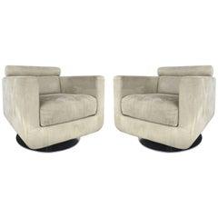 Italian Ultra-Suede Swivel Club Chairs by Natuzzi Salotti