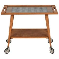 Mid-Century Modern Wood Bar Cart