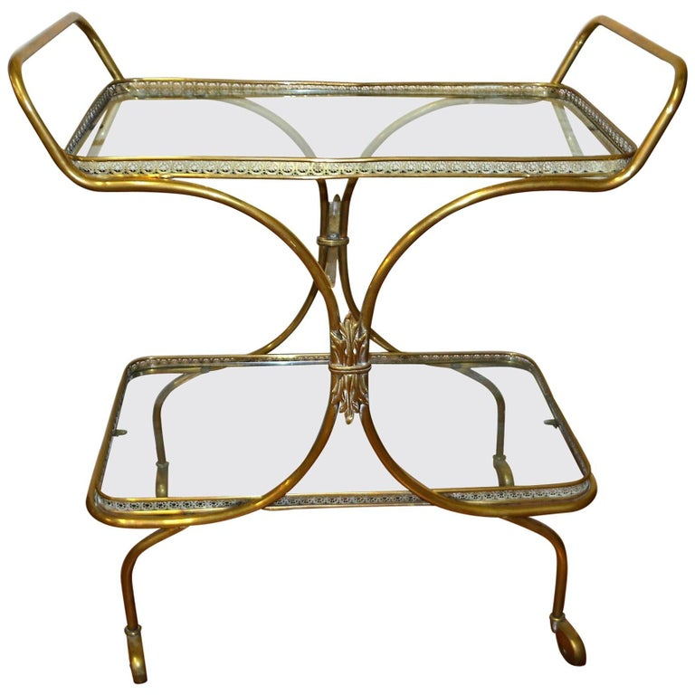 European Neoclassic Style, Decorative Brass Bar Cart with Two Glass Trays