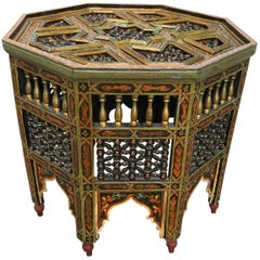 Moroccan Carved and Painted Octagonal Side Table