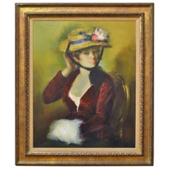 20th Century Framed Oil Painting, Colorful Portrait of a French Women with Hat