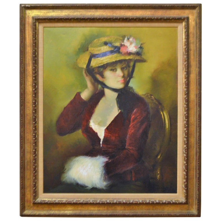 20th Century Framed Oil Painting, Colorful Portrait of a French Women with Hat For Sale