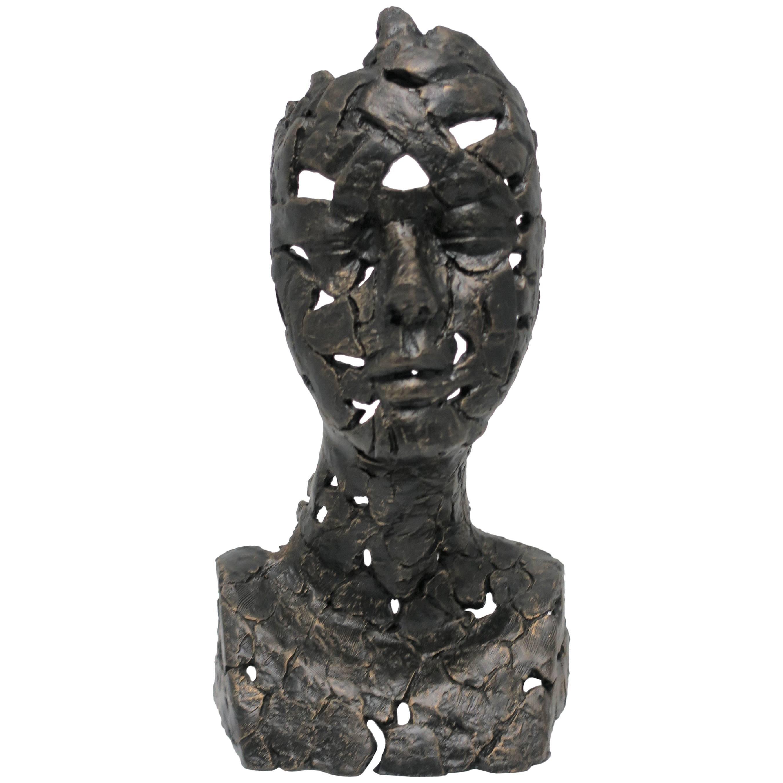 Bronzed Female Bust Sculpture