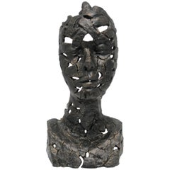 Bronzed Female Bust Sculpture