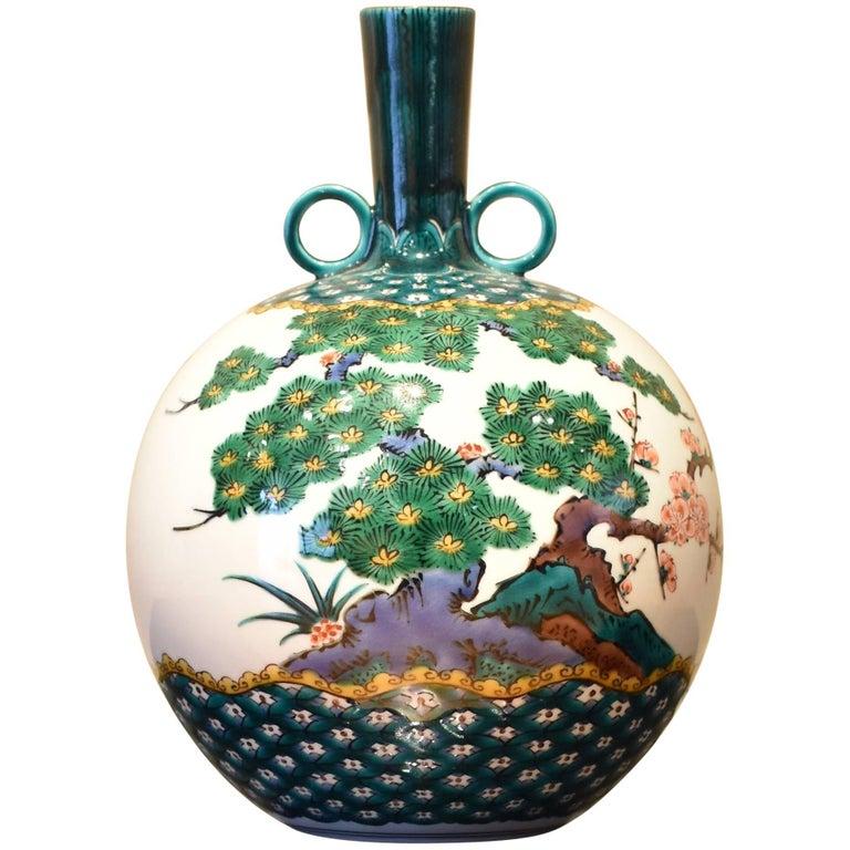 Japanese Hand-Painted Kutani Decorative Porcelain Vase by Master Artist