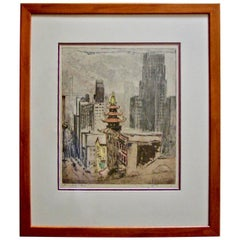 Max Pollack (1876-1970) Colored Etching of California Street in San Francisco