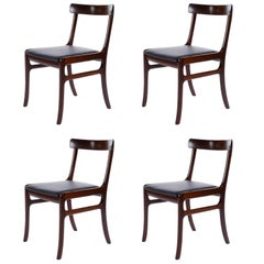 Set of Four Ole Wanscher Dining Chairs Rungstedlund Mahogany Black Leather 1960s