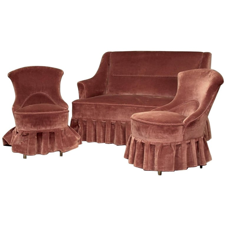 Danish 1930s Small Scale Salon Set Of Loveseat And Chairs For Sale At 1stdibs