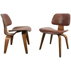 Rare Early Production Pair of Leather and Walnut D C W's by Charles Eames