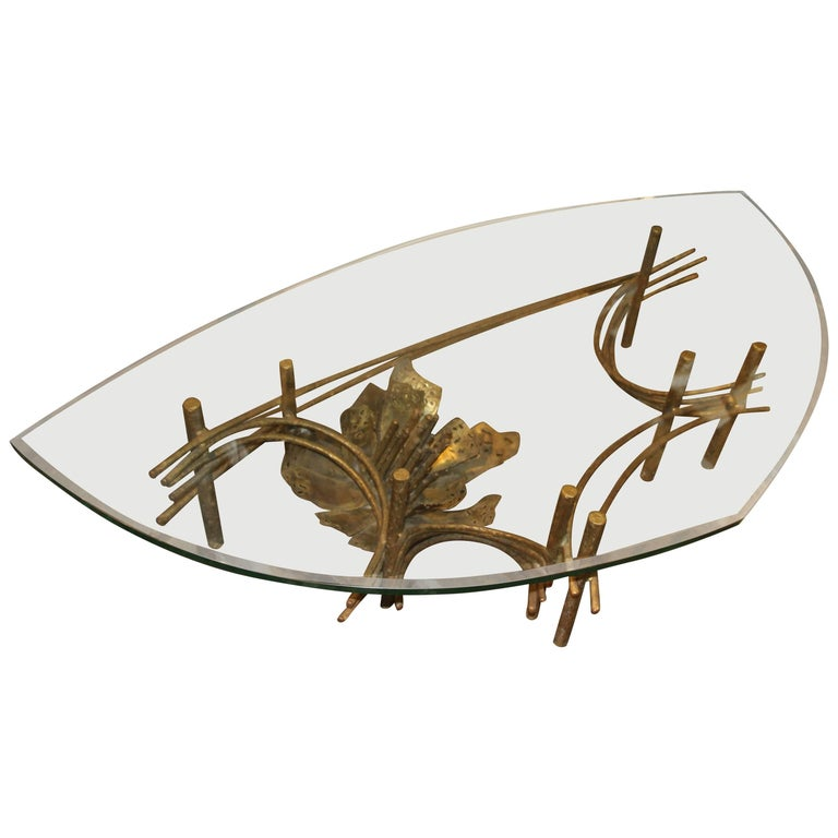 Daniel Gluck Bronze Patinated Metal Table with Unusual Shape Top