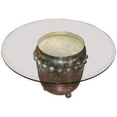 Asian Silver Plated Drum Table