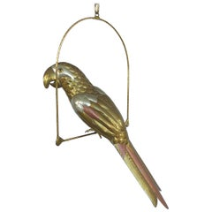 Sergio Bustamante Mixed-Metal Parrot Sculpture on a Perch