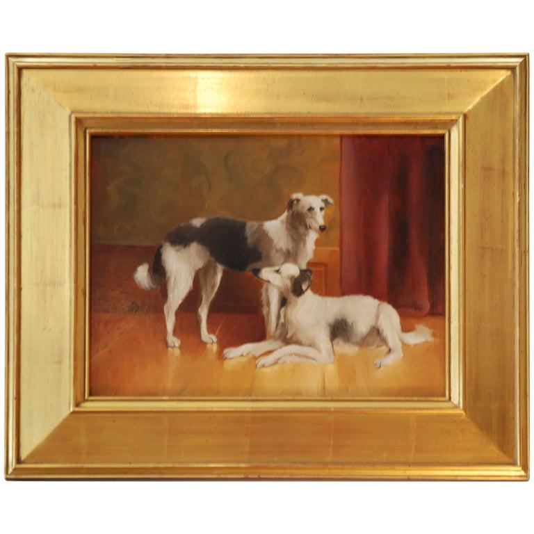 Dogs Painting, Oil on Board, by Debra Higgins