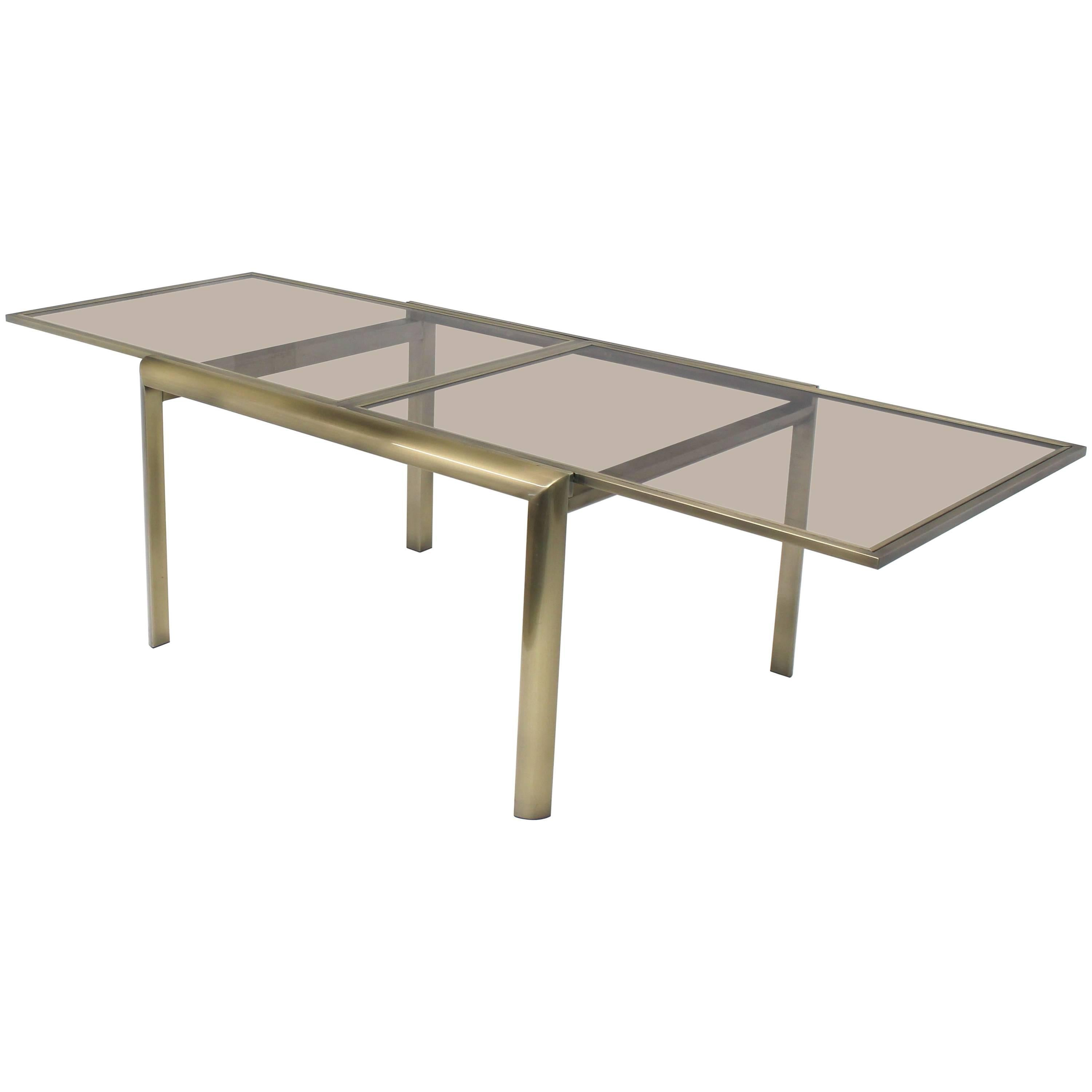 Smoked Glass Brass DIA Expandable Dining Table