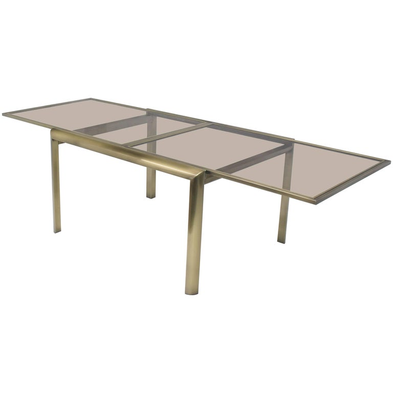 Smoked Glass Brass Dia Expandable Dining Table For Sale At 1stdibs