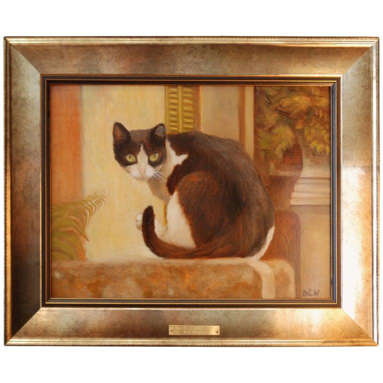 Cat Painting, Oil on Board, by Debra Higgins