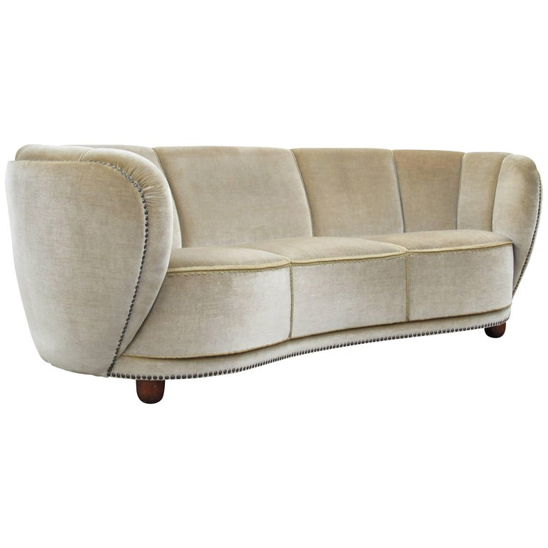 1930s Danish Curved Sofa in Original Mohair