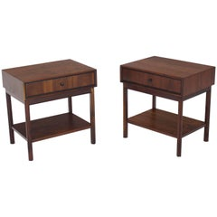 Pair of Oiled Walnut One Drawer Nightstands Tables