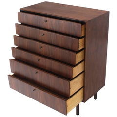 Bookmached Wood Grain Oiled Walnut 6 Drawers Tall High Chest Dresser