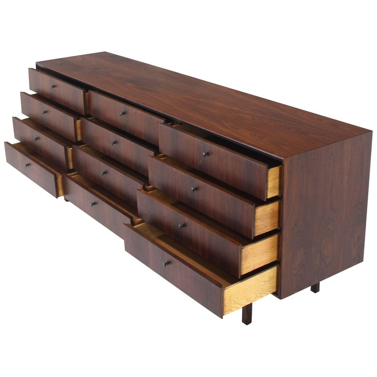 12 Drawers Oiled Walnut Mid Century Modern Long Dresser Credenza Danish