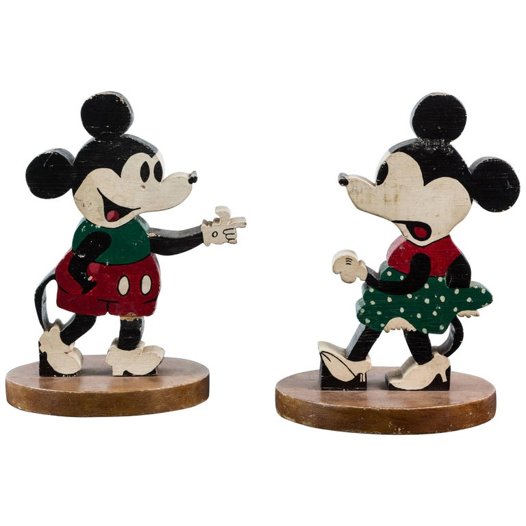 Vintage Wood Caved Folk Art Mickey Mouse and Minnie Mouse For Sale