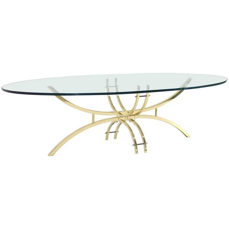 Oval Brass & Glass Coffee Table