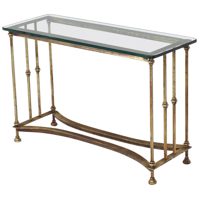 Gold Gild Iron Base Glass Top Console Table For Sale At 1stdibs