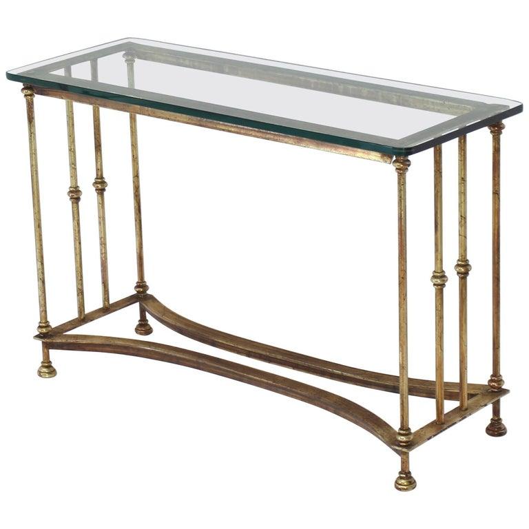 Gold Gild Iron Base Glass Top Console Table