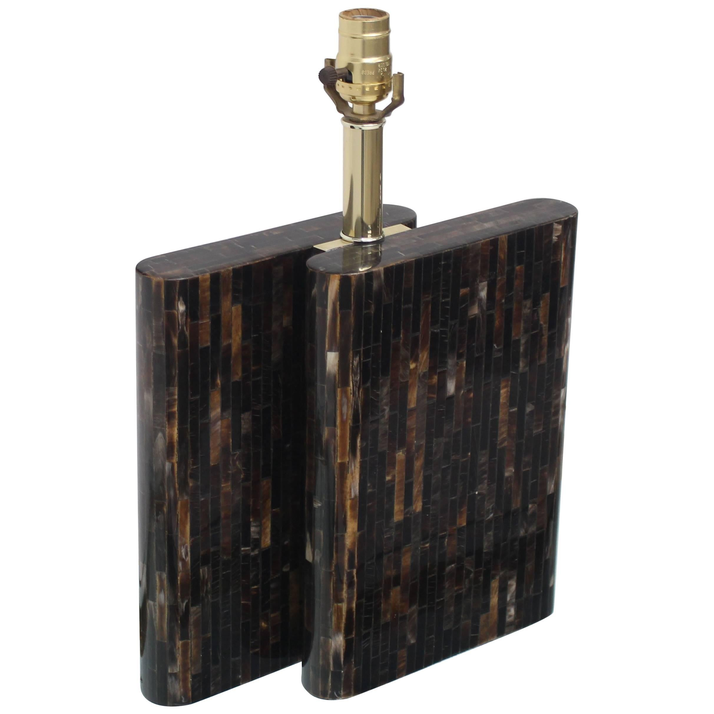 Tessellated Dark Bone Tile Table Lamp