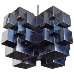 Midcentury Stainless Steel Curtis Jere Cubist Chandelier Dated 1975