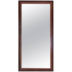 Oiled Walnut Frame Mid Century Modern Rectangular Mirror.