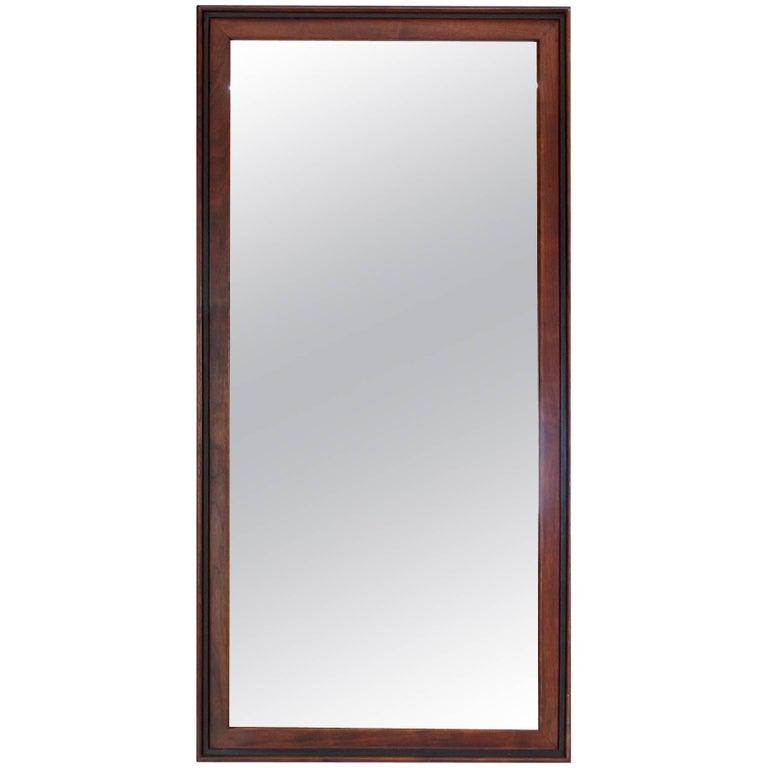 Oiled Walnut Frame Mid Century Modern Rectangular Mirror.