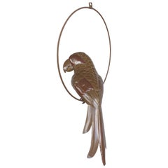 Midcentury Mixed Metals Parakeet Sculpture Attributed to Sergio Bustamante